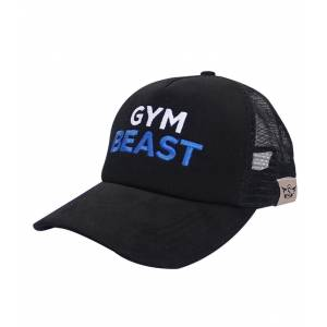 Supplementler.com Gym Beast Fileli Şapka Siyah Mavi Yazı STANDART
