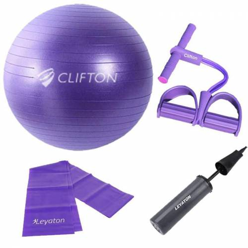 Clifton 65 cm Mor Dura-Strong Deluxe Pilates Topu+Body Trimmer +Pilates Bandı + Pompa Set