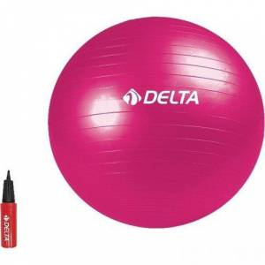 Delta 65 cm Dura-Strong Fuşya Deluxe Pilates Topu + 25 cm Pompa