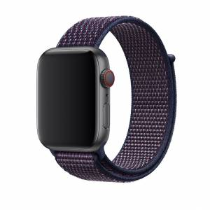 Apple Watch 2 3 4 5 Kordon Dokuma Sport Loop Hasır Örme Kayış-Cırt 42mm - 44mm İNDİGO LACİVERT