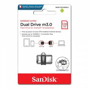SanDisk 128GB UltraDualDrive OTG M3.0 Usb Bellek SDDD3-128G-G46