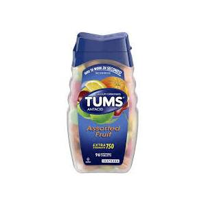 TUMS Antacid Chewable Tablets, Extra Strength for Heartburn Relief, Assorted Fruit, 96