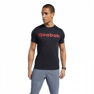 Reebok Graphic Series Linear Logo Tee T-Shirt Siyah LARGE