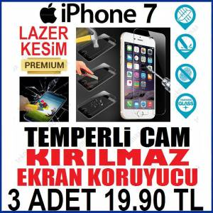 iPhone 7 Kırılmaz Cam Ekran Koruyucu 3 ADET Apple iPhone 7 Temperli Cam iPhone 7 Tempered Glass Cam