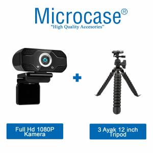 Microcase Tripodlu Klipsli Mikrofonlu Full Hd 1080P Webcam 30 FPS EBA TV ZOOM SKYPE AL2547T