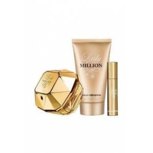 Paco Rabanne Lady Million 80 ML EDP & Body Lotion 100 ML & Travel Spray 10 ML Kadın Parfüm Seti