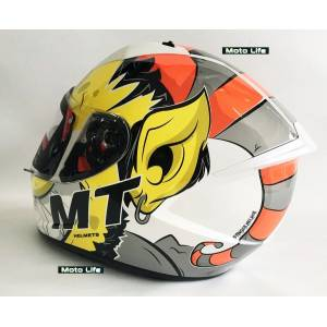 Mt Kask Mt Stinger Melkor A3 Gloss White Orange Şefaf Vizörlü - XL BEDEN