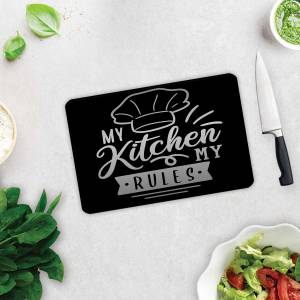 DECORİTA  My Kitchen My Rules  Cam Kesme Tahtası  20cm x 30cm