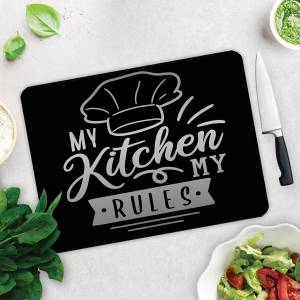 DECORİTA  My Kitchen My Rules  Cam Kesme Tahtası  30cm x 40cm