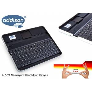 Addison ALS-77 Siyah Bluetooth Tablet PC + iPad Alüminyum Q Multimedia Kablosuz klavye