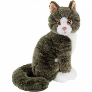 Animals Of The World Oturan Gri Kedi Peluş Oyuncak 22 cm
