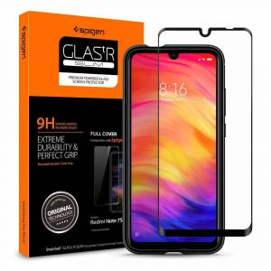 Xiaomi Redmi Note 7 pro / Note 7 / 7S Cam Ekran Koruyucu, Spigen Full Cover Glass Black