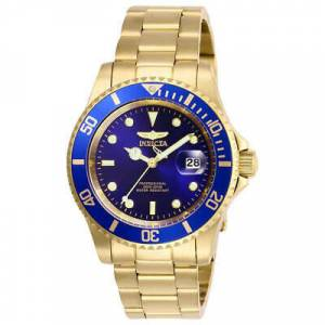 Invicta Men's Watch Pro Diver Quartz Blue Dial Yellow Gold Bracelet 26974
