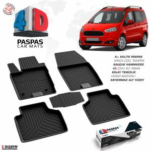 Ford Courier 4D Havuzlu Paspas Siyah A+Kalite 4DS-01390