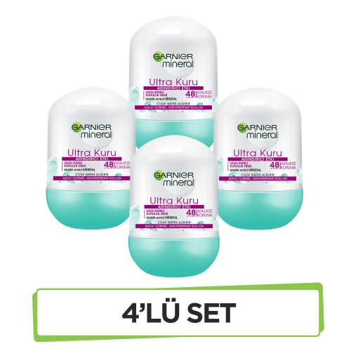 Garnier Mineral Ultra Kuru Roll-On Deodorant  X4'lü Set