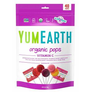 YumEarth Organic Vitamin C Lollipop 40 lollipops Allergy Friendly Non GMO Gluten Free Vegan 284 g