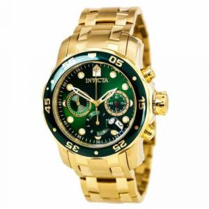 Invicta Men's Watch Pro Diver Green Dial GT Bracelet Quartz Chronograph 0075