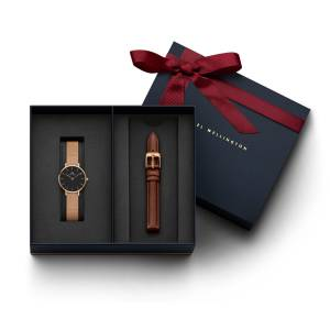 Daniel Wellington Women's Classic Petite Melrose Black, Rose Gold 28 mm Watch + St Mawes Leather Str