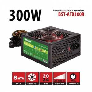 Power Boost Bst-Atx300R 300W 12Cm Kırmızı Fan Siyah Atx Power Supply (Retail Box)