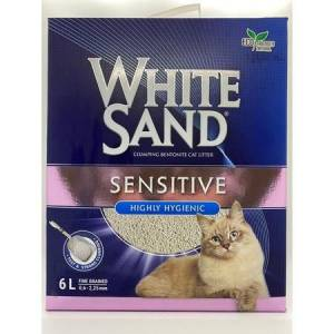 White Sand Sand Sensitive Plus Cat Litter Yapışmayan Kedi Kumu 6Lt