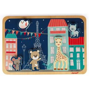 Janod Sophie La Girafe Collection - 5 Piece Parisian Theme Chunky Stand Up Jigsaw Puzzle - Encourage